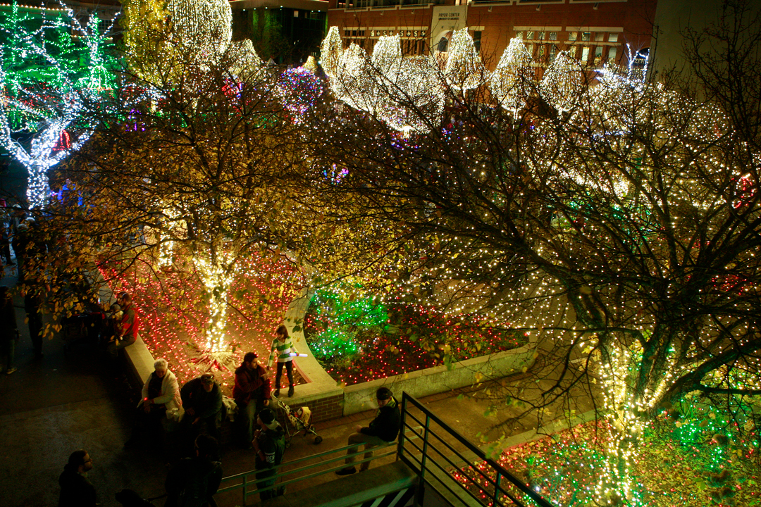 fayetteville on friday put on its holiday season getup switching on hundreds of thousands of lights around the downtown square